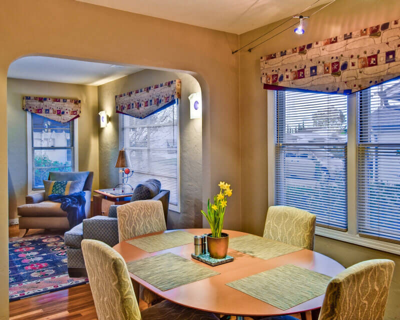 InterSpace Design - Custom Window Treatments of Asymmetric Valences in Dining and Living Rooms
