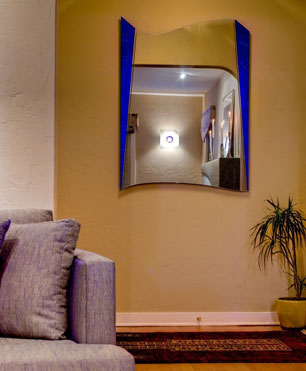 InterSpace Design - Custom entryway mirror with blue accents