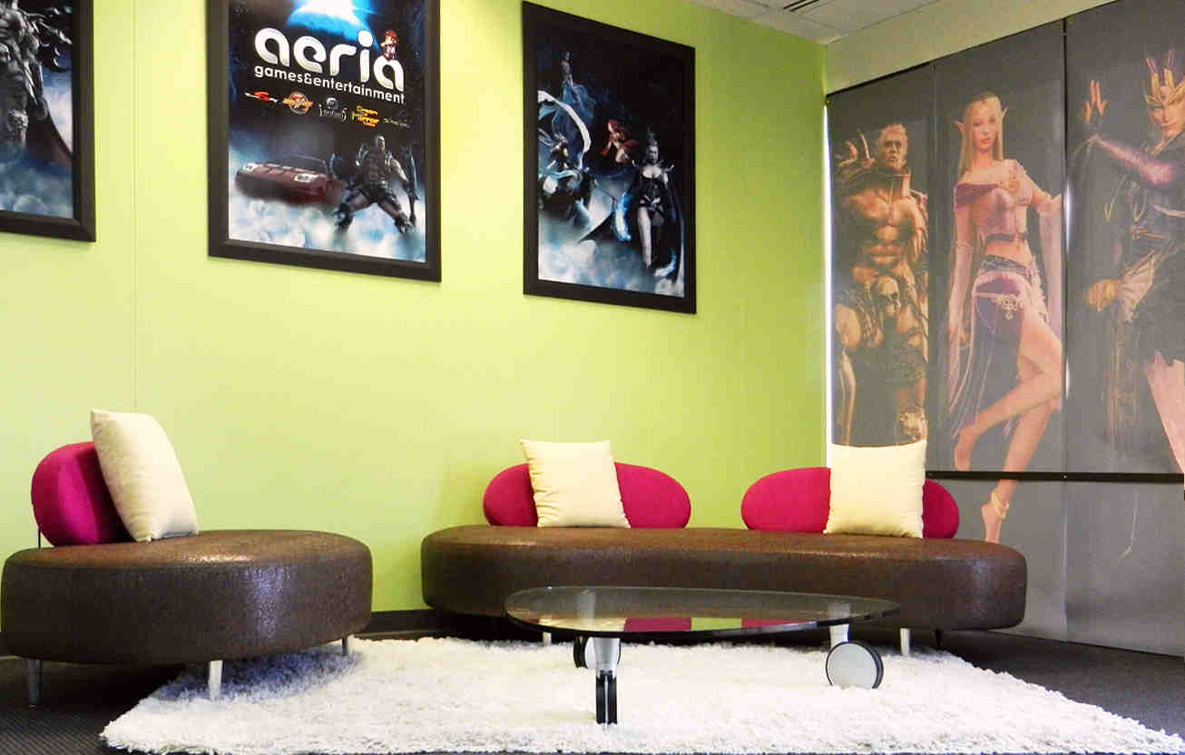 InterSpace Design - Commercial Interior Design showing Reception Area of Online Game Publisher.
