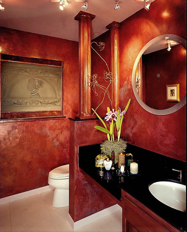 InterSpace Design – Bathroom Remodel showing Venetian Plaster Faux Finish with Etched Glass and Decorative Mirror Designs in Saratoga home