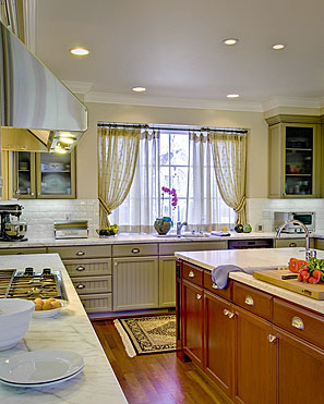 InterSpace Design - Kitchen Renovation showing Custom Curtains in Sheer fabrics with shirred Tiebacks