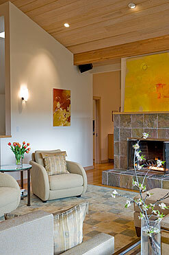 InterSpace Design - Mix of Custom and Reupholstered Seating in Living Room of Los Altos home